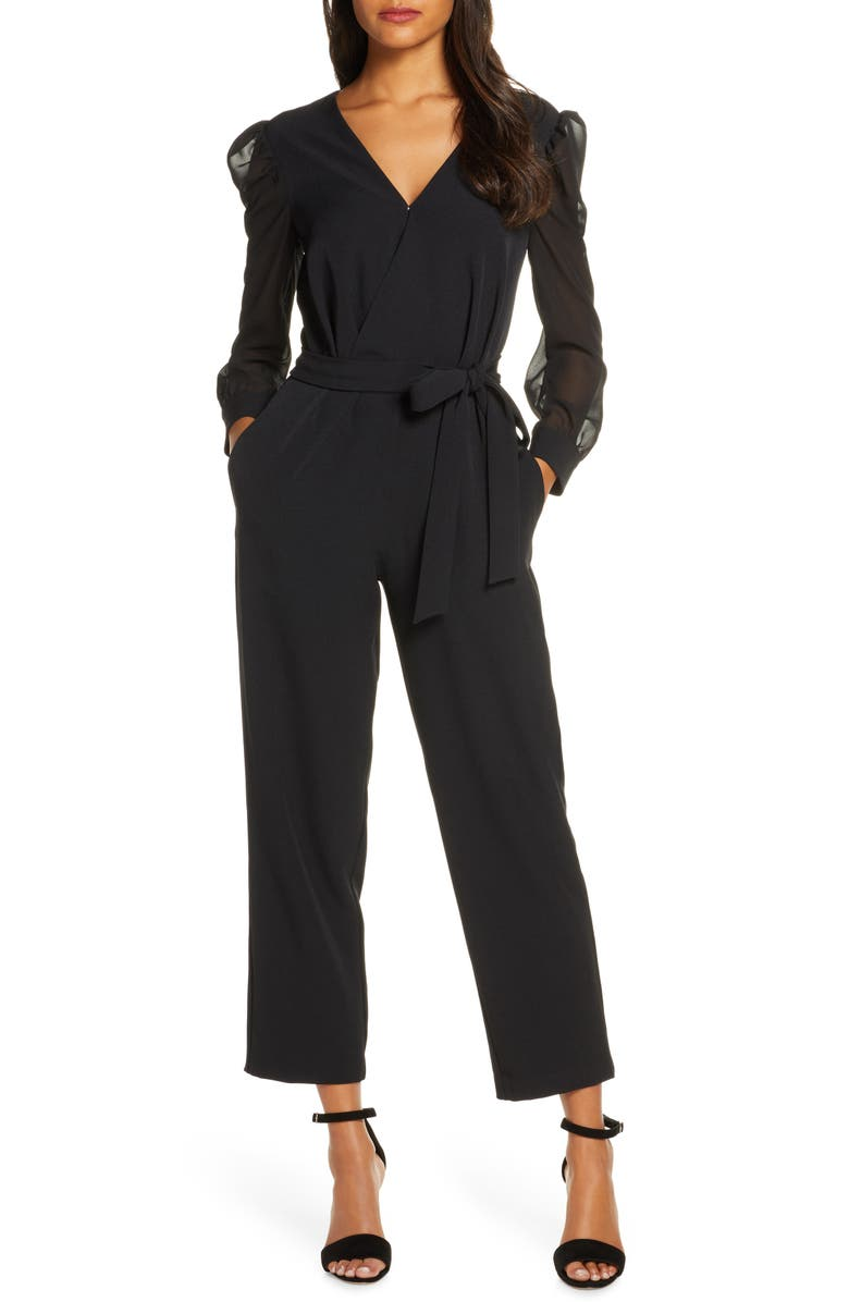 DONNA RICCO Long Sleeve Chiffon Jumpsuit, Main, color, BLACK