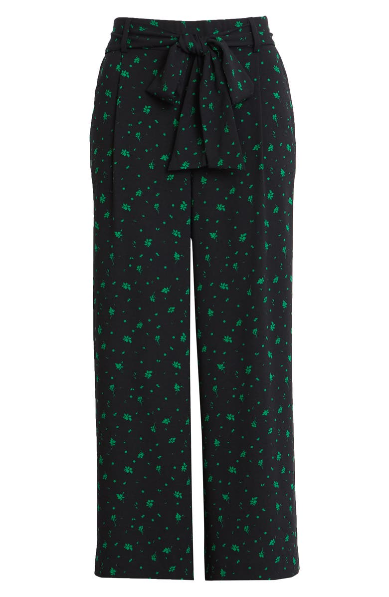 HALOGEN<SUP>®</SUP> Wide Leg Crop Pants, Main, color, BLACK- GREEN FALLING LEAVES