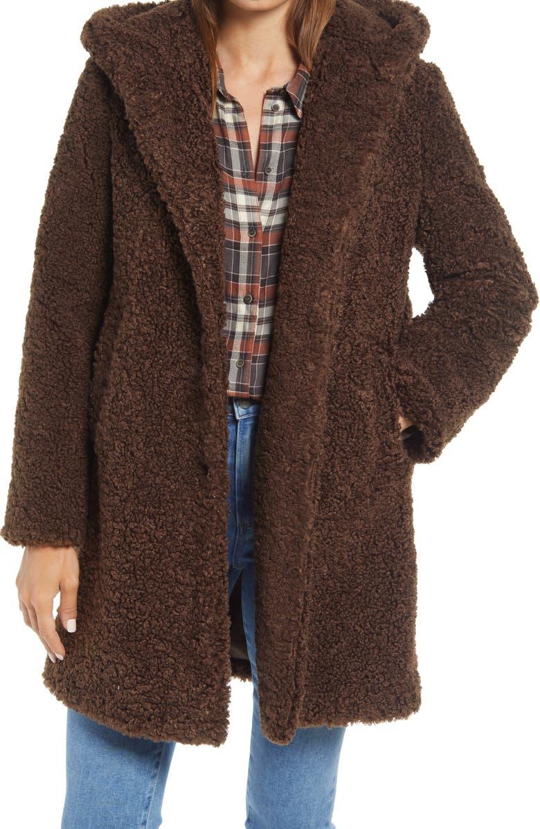 SAM EDELMAN Hooded Faux Shearling Teddy Coat, Main, color, TERRAZZO BROWN