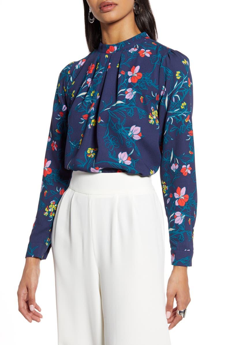 HALOGEN<SUP>®</SUP> Pleat Front Blouse, Main, color, NAVY P CASELLE FLORAL