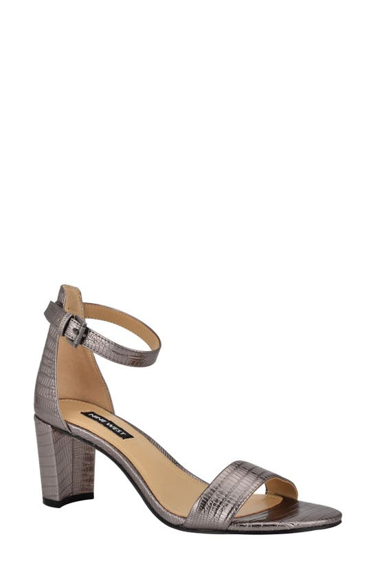 Nine West Women's Pruce Ankle Strap Block Heel Sandals Women's Shoes In Pewter Lizard