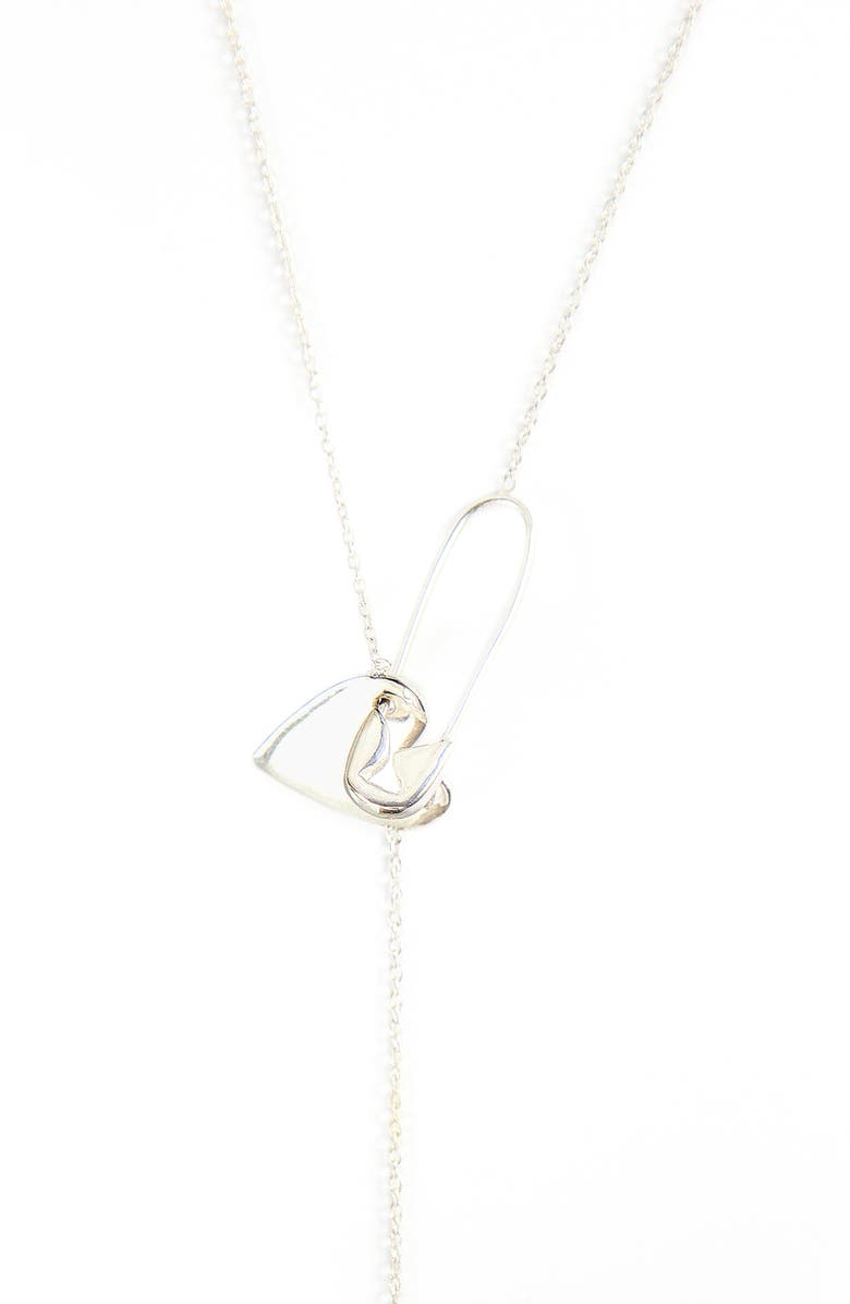 ADORNIA Diamond Heart Safety Pin Lariat Necklace, Main, color, SILVER