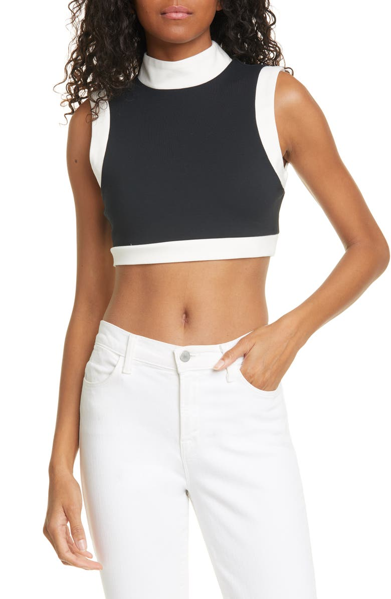 STAUD Yin Ponte Crop Top, Main, color, 001