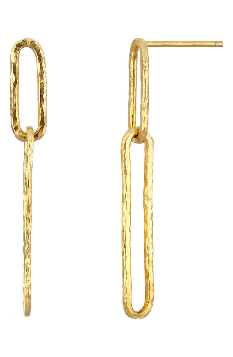 BONY LEVY 14K Gold Hammered Paperclip Earrings, Main, color, YELLOW GOLD