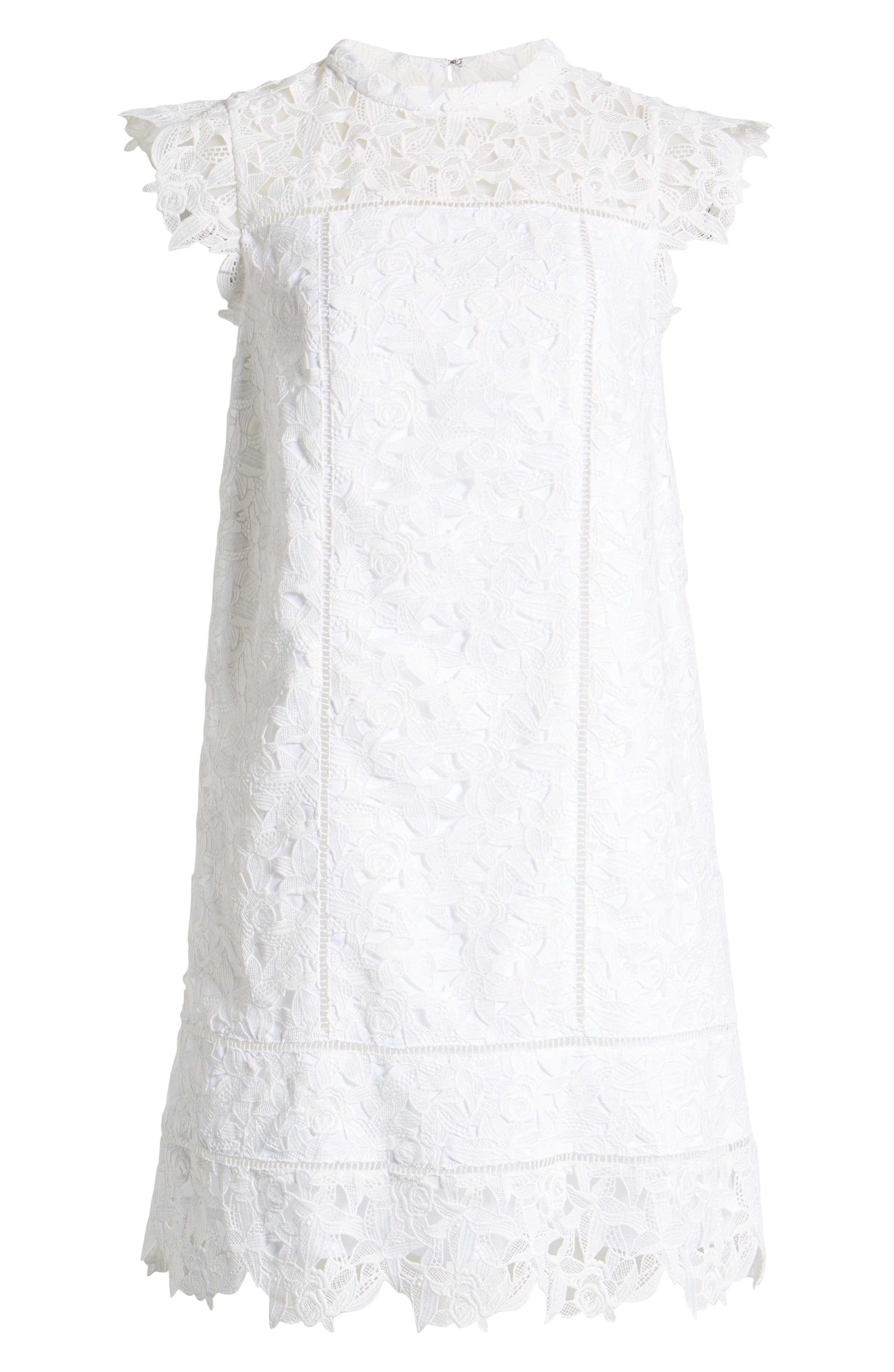 ,                             Lace Shift Dress,                             Alternate thumbnail 7, color,                             WHITE CAP