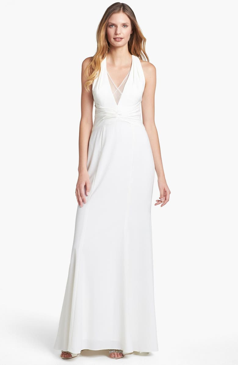 ADRIANNA PAPELL Mesh Inset Stretch Crepe Gown, Main, color, 911