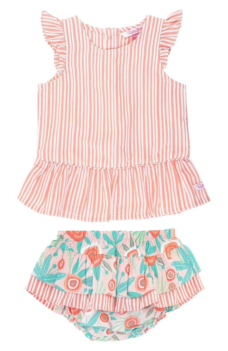 RUFFLEBUTTS Stripe Peplum Top & Skirted Bloomers Set, Main, color, ORANGE