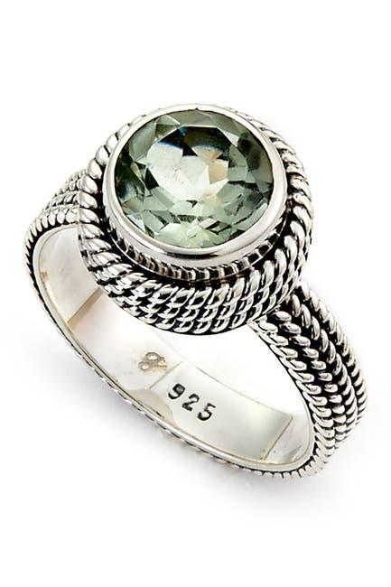 Image of Samuel B Jewelry Sterling Silver Bezel Set Round Cut Amethyst Beaded Trim Ring