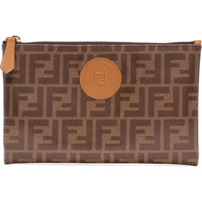 Fendi Medium Busta Logo Canvas Zip Pouch - Brown
