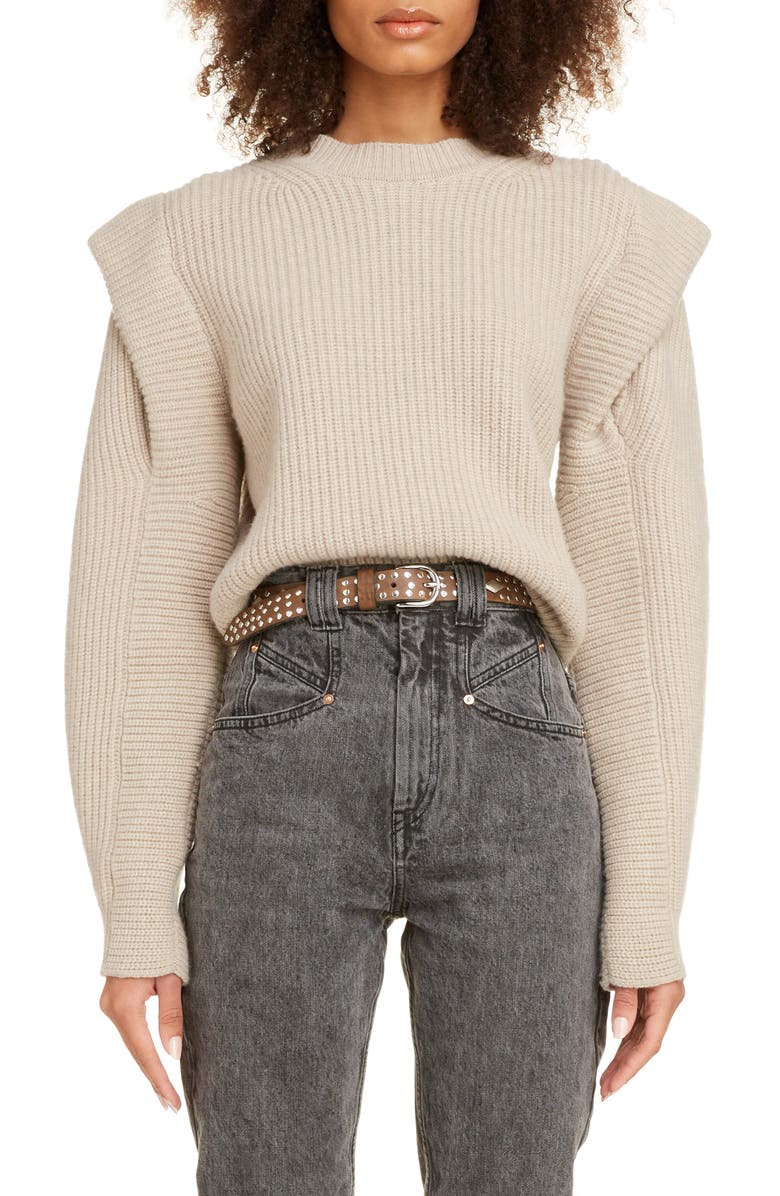 ISABEL MARANT Layered Cashmere & Wool Sweater, Main, color, BEIGE