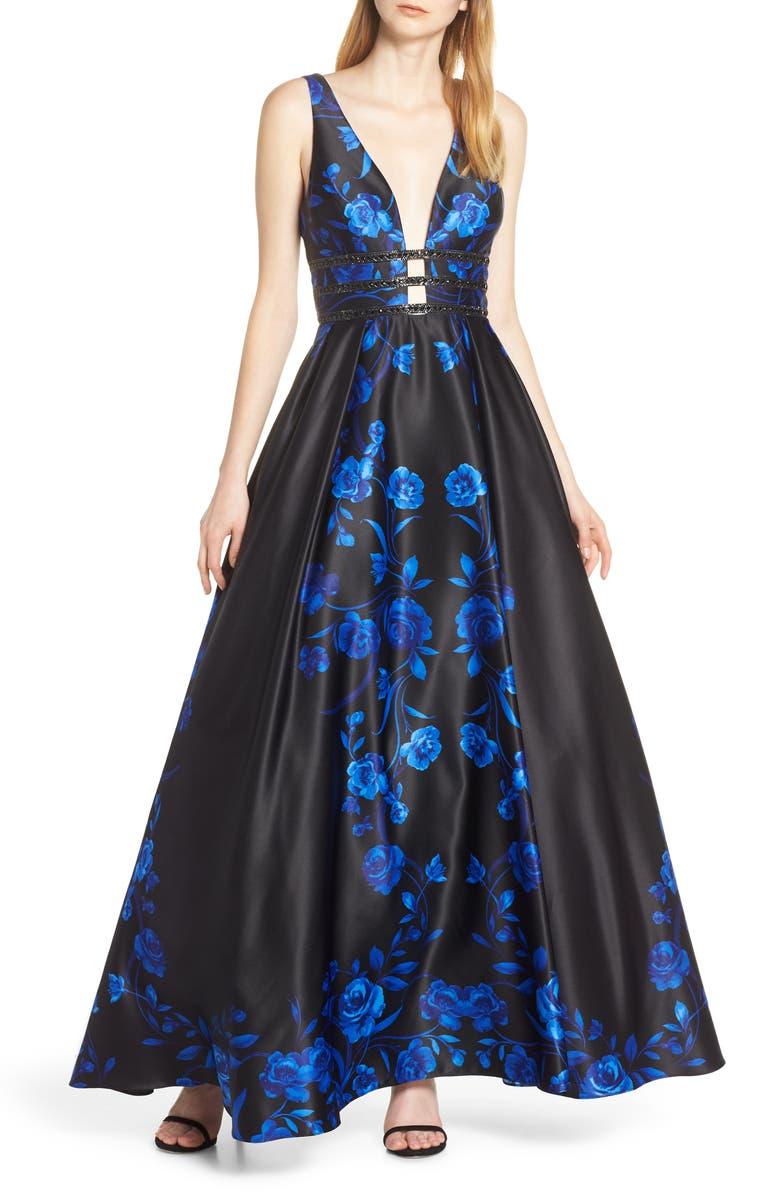 BLONDIE NITES Triple Band Satin Evening Dress, Main, color, 430