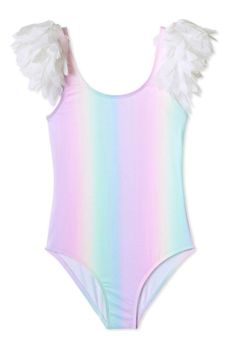 STELLA COVE Rainbow Petal Shoulder Swimsuit, Main, color, MULITOLOR