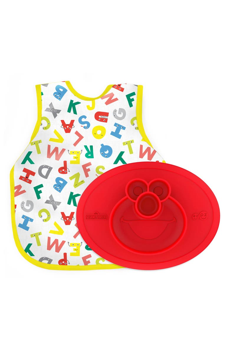 EZPZ ABCs Bapron & Mini Silicone Feeding Mat, Main, color, RED MULTI