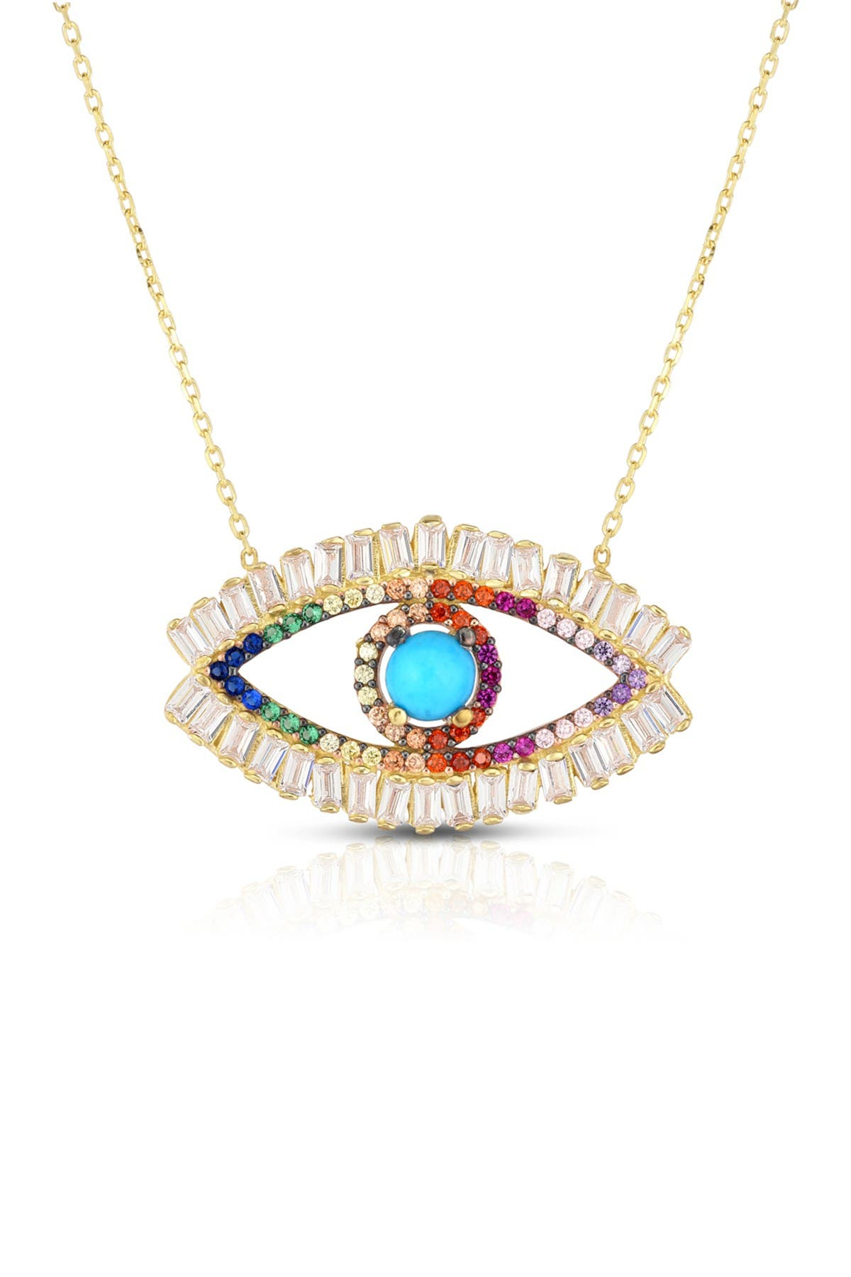 Image of Sphera Milano 14K Yellow Gold Plated Sterling Silver Turquoise & Pave Rainbow CZ Evil Eye Pendant Necklace