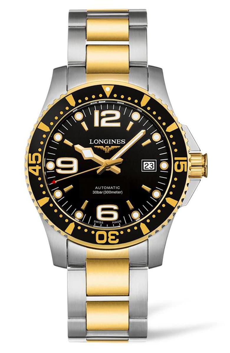 LONGINES HydroConquest Automatic Bracelet Watch, 41mm, Main, color, SILVER/ BLACK/ GOLD