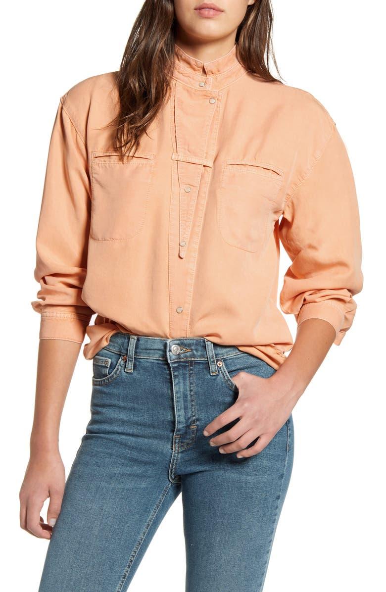TOPSHOP IDOL Oversize Woven Shirt, Main, color, PEACH