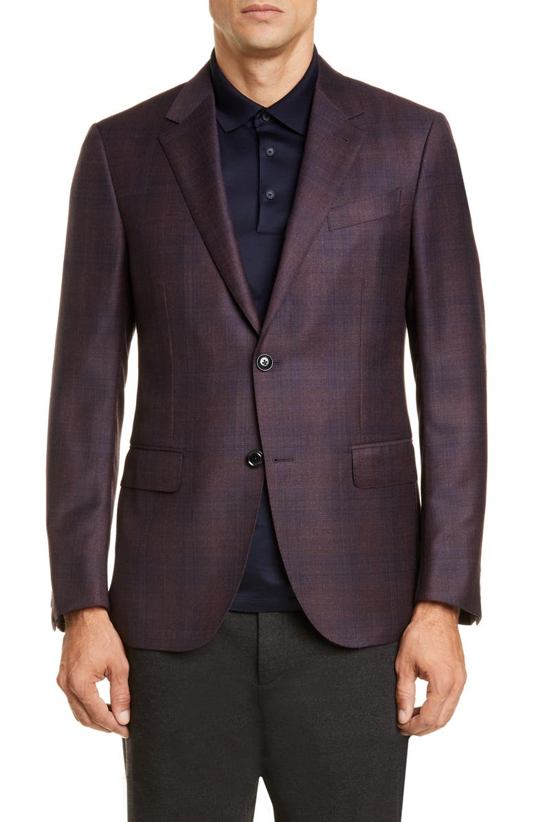 ERMENEGILDO ZEGNA Milano Trim Fit Plaid Wool Blend Sport Coat, Main, color, BERRY