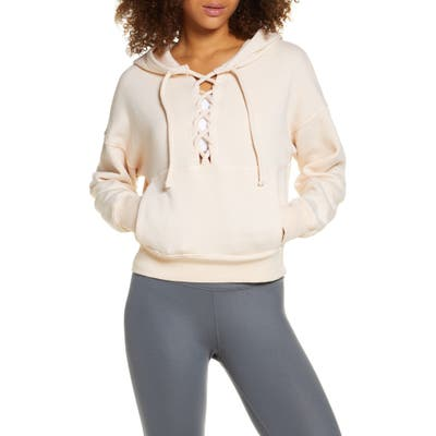 Free People Fp Movement Believe It Lace-Up Hoodie, Pink