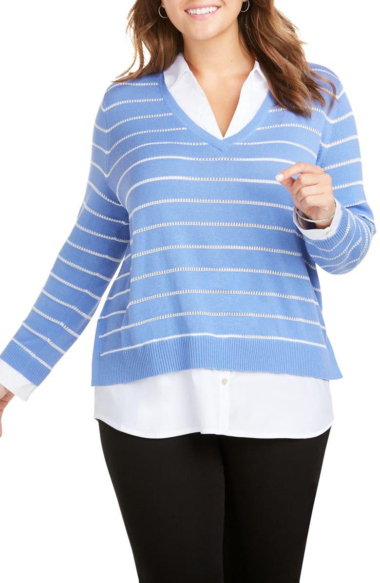 FOXCROFT Dana Mix Media Stripe Sweater, Main, color, PERFECT PERI