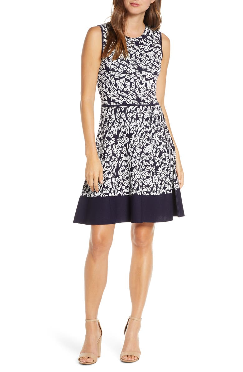 ELIZA J Print Fit & Flare Sweater Dress, Main, color, NAVY