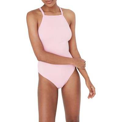 Madewell Second Wave Racerback Rib One-Piece Swimsuit, Pink