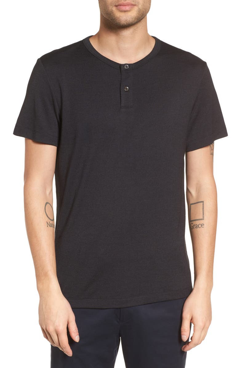 THEORY Gaskell Anemone Slim Fit Henley, Main, color, BLACK MULTI