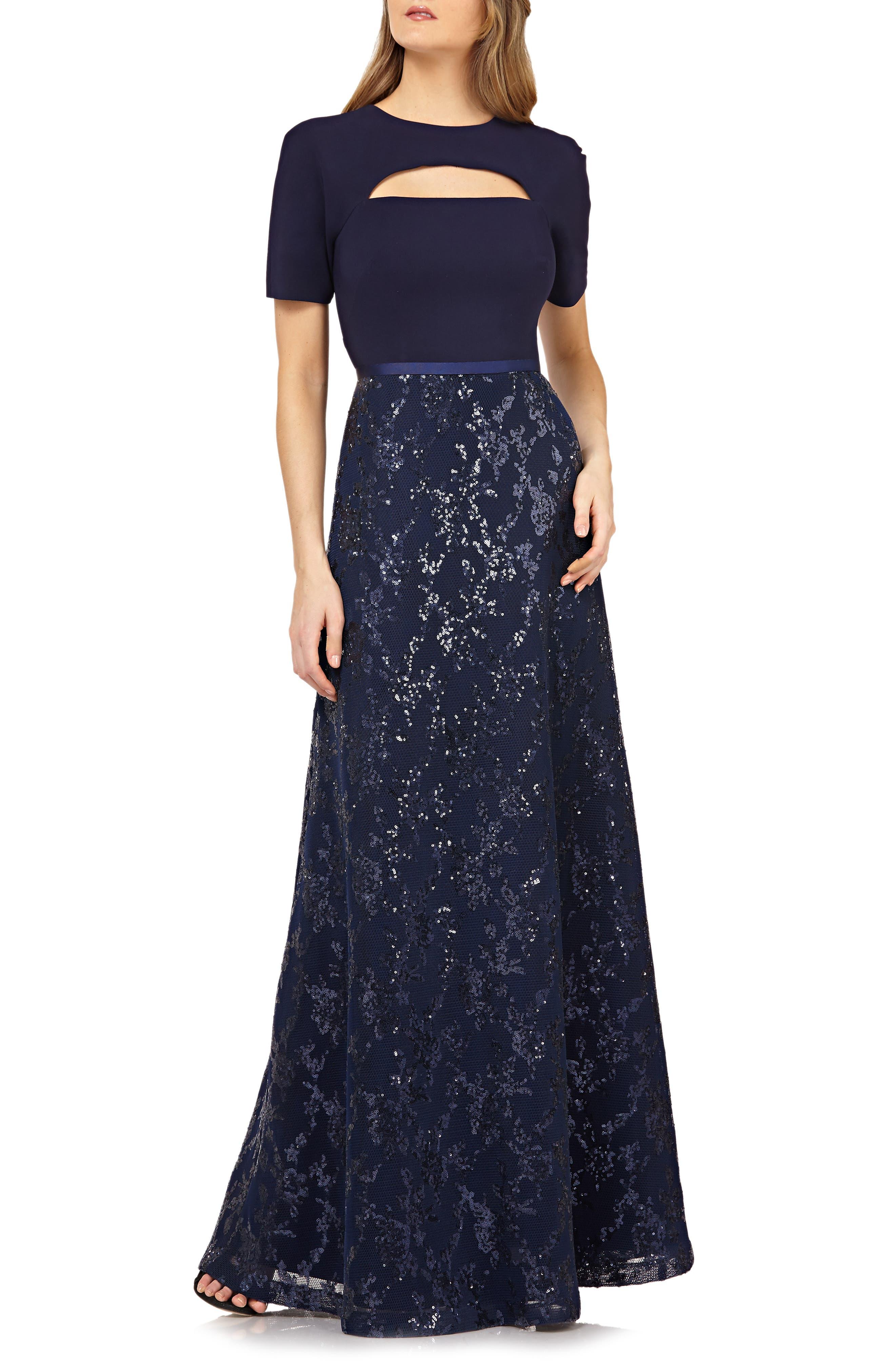 Kay Unger Cutout Sequin Evening Gown, Blue