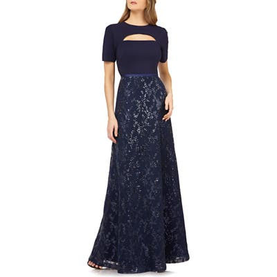 Kay Unger Cutout Sequin Evening Gown, Blue