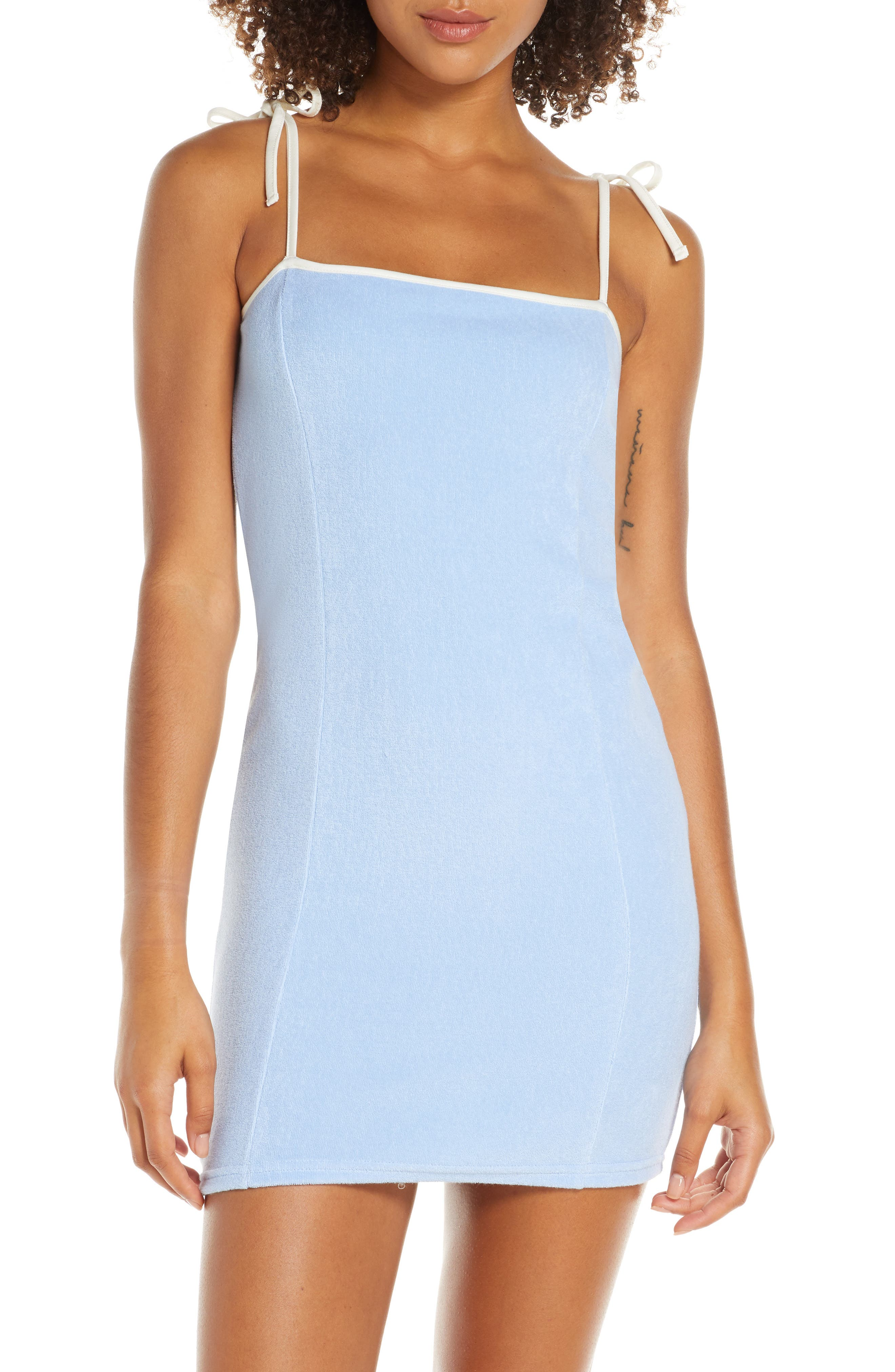 Solid & Striped Cover-Up Minidress, Blue