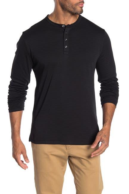 Image of ROBERT BARAKETT Colton Stripe Long Sleeve Henley T-Shirt
