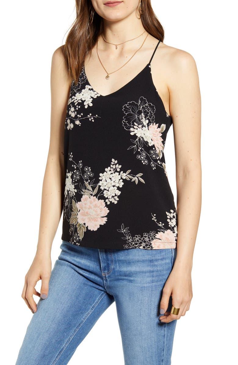 BISHOP + YOUNG Tessa Floral Crepe Camisole, Main, color, 001