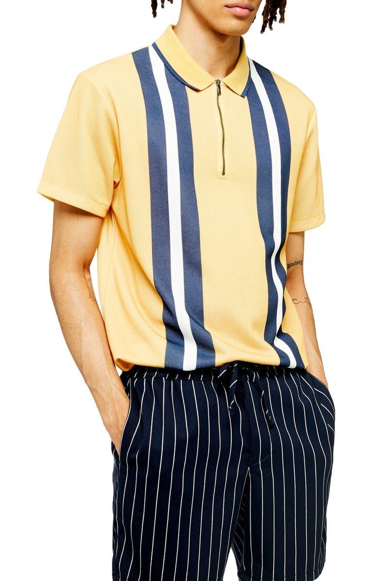TOPMAN Stripe Zip Short Sleeve Polo Shirt, Main, color, YELLOW MULTI