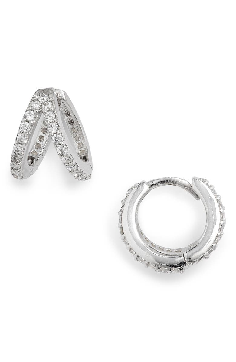ADINA'S JEWELS Adina's Jewels Geometric Huggie Hoop Earrings, Main, color, SILVER