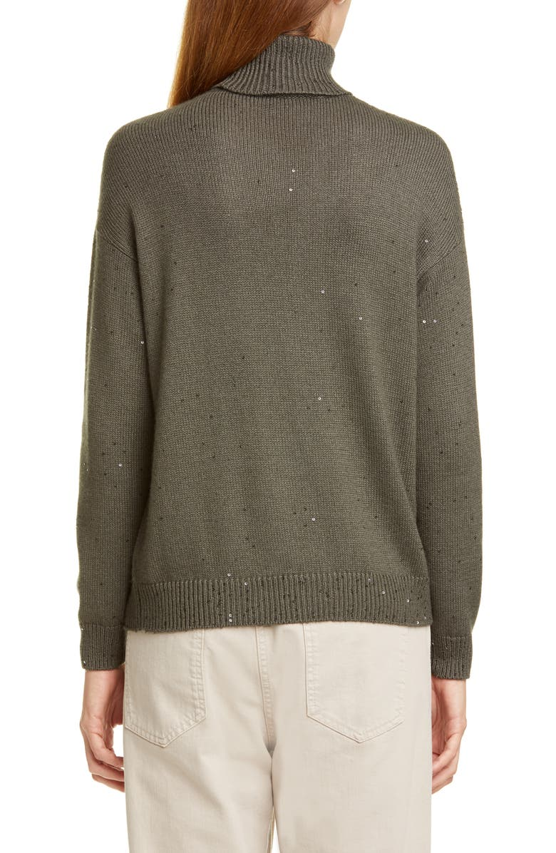 BRUNELLO CUCINELLI Sequin Cashmere & Silk Turtleneck Sweater, Main, color, MILITARY