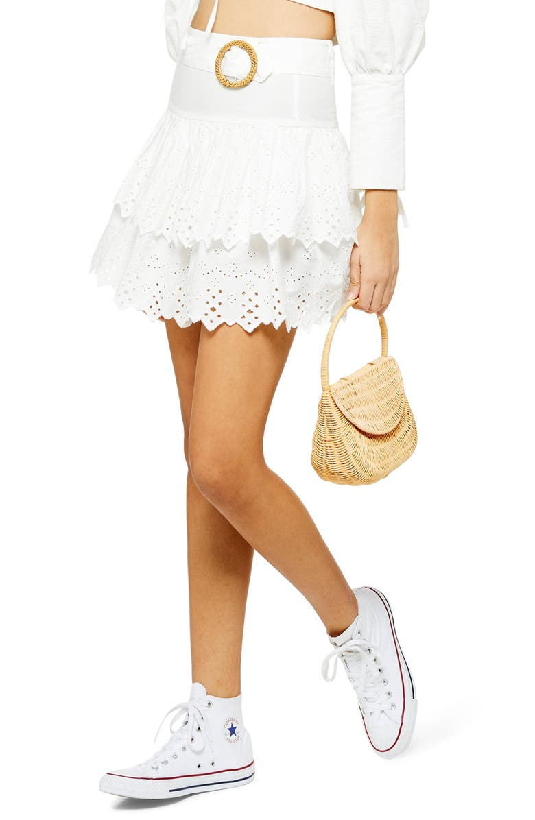 TOPSHOP Broderie Anglaise Tiered Miniskirt, Main, color, WHITE