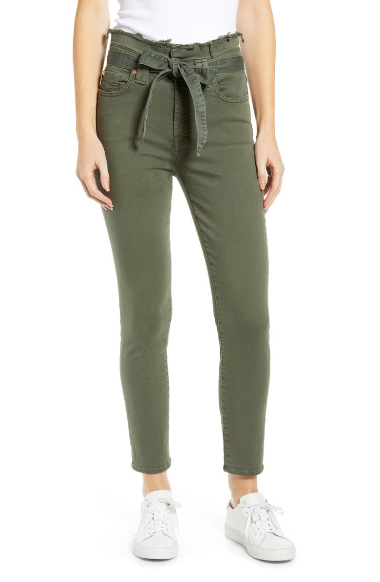 7 FOR ALL MANKIND<SUP>®</SUP> Paperbag Waist Jeans, Main, color, ARMY GREEN