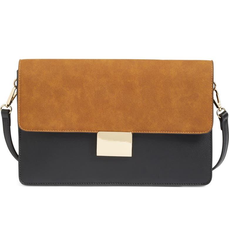 CHELSEA28 Leighton Colorblock Faux Leather Crossbody Bag, Main, color, BLACK/COGNAC