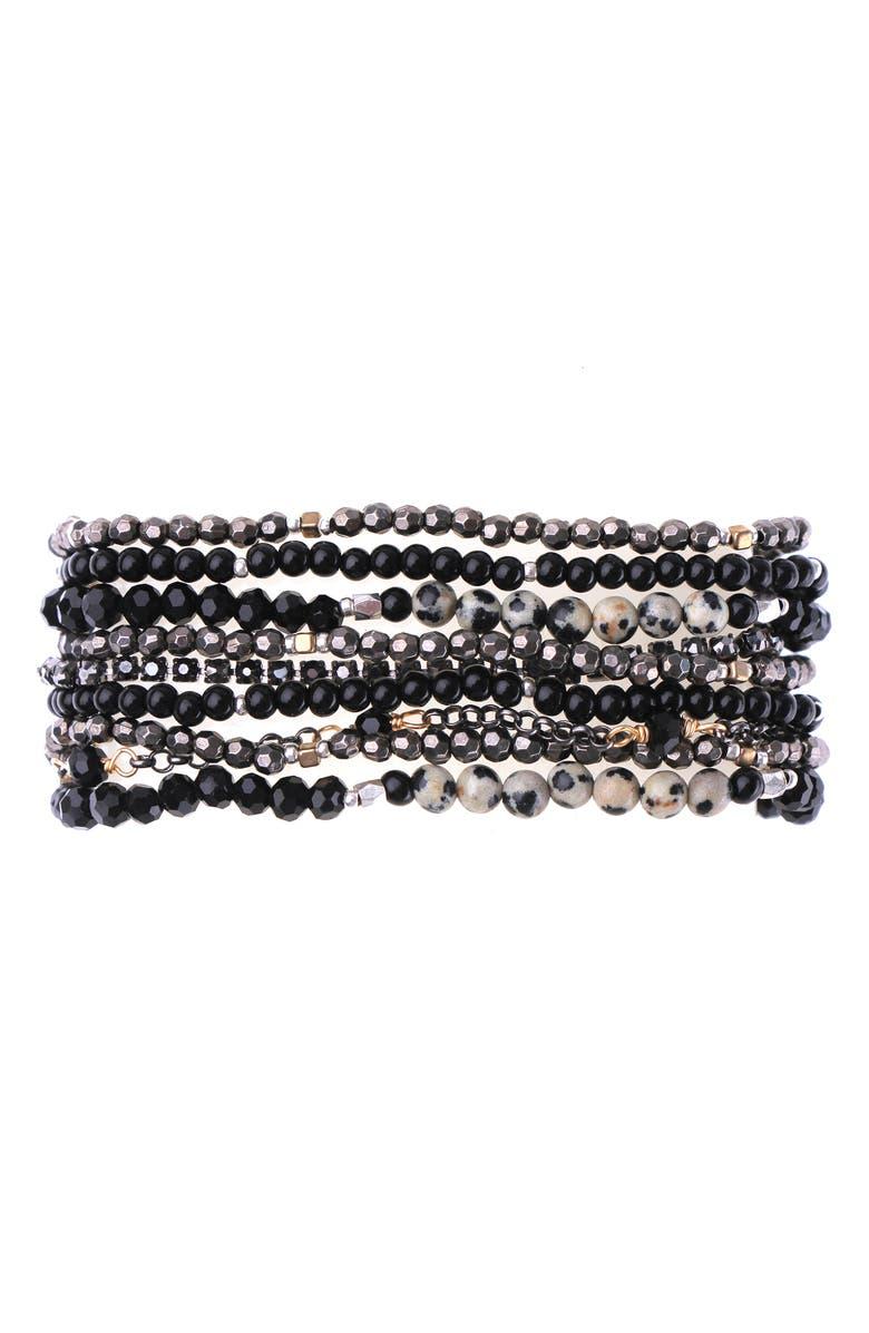 NAKAMOL CHICAGO Beaded Multistrand Bracelet, Main, color, BLACK/ GREY