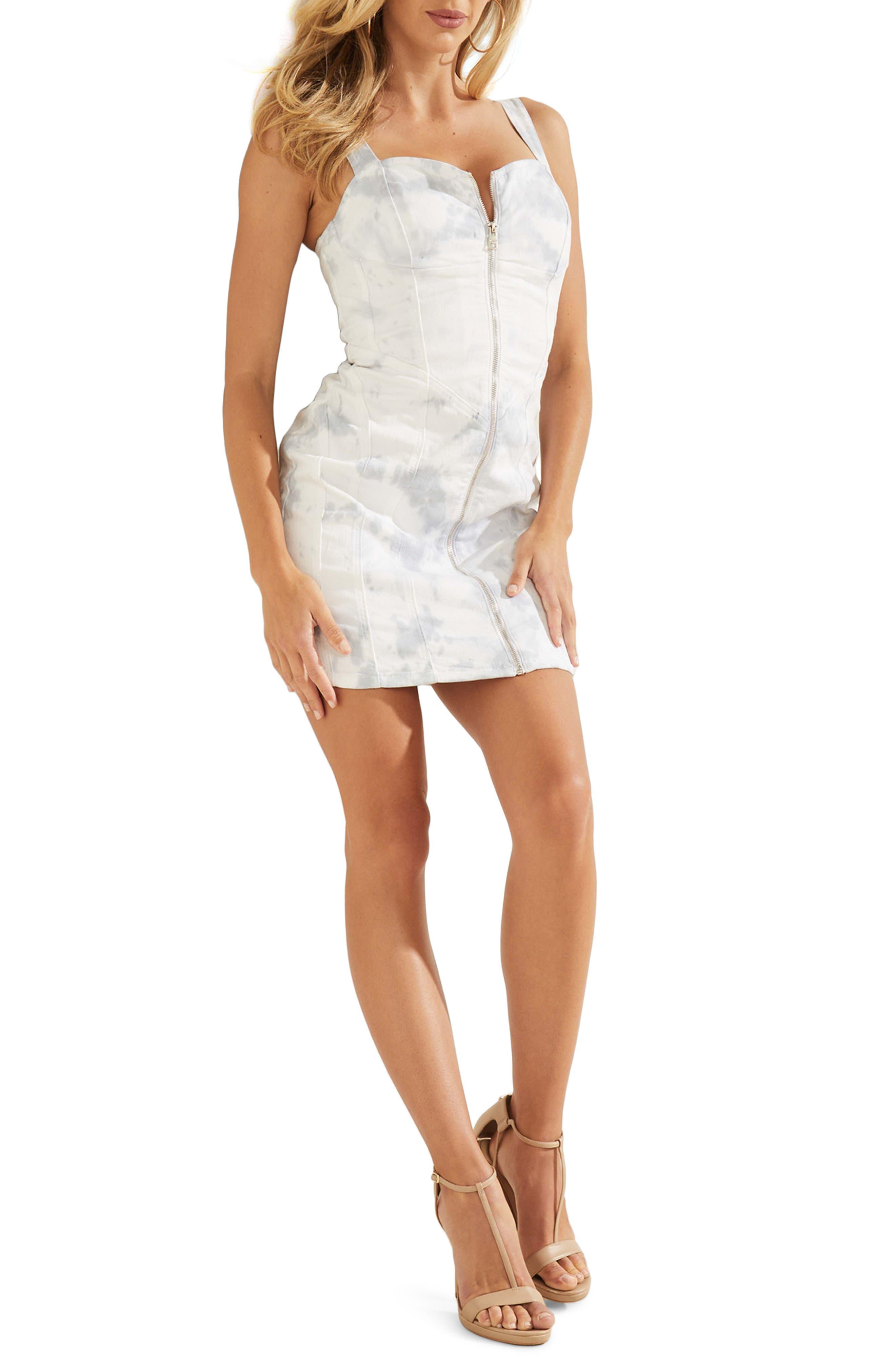 Ivy Zip Front Denim Minidress