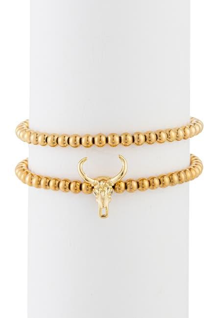 Image of Eye Candy Los Angeles Isiah Titanium Beaded Bracelet with Brass Pendant Skull Head Set