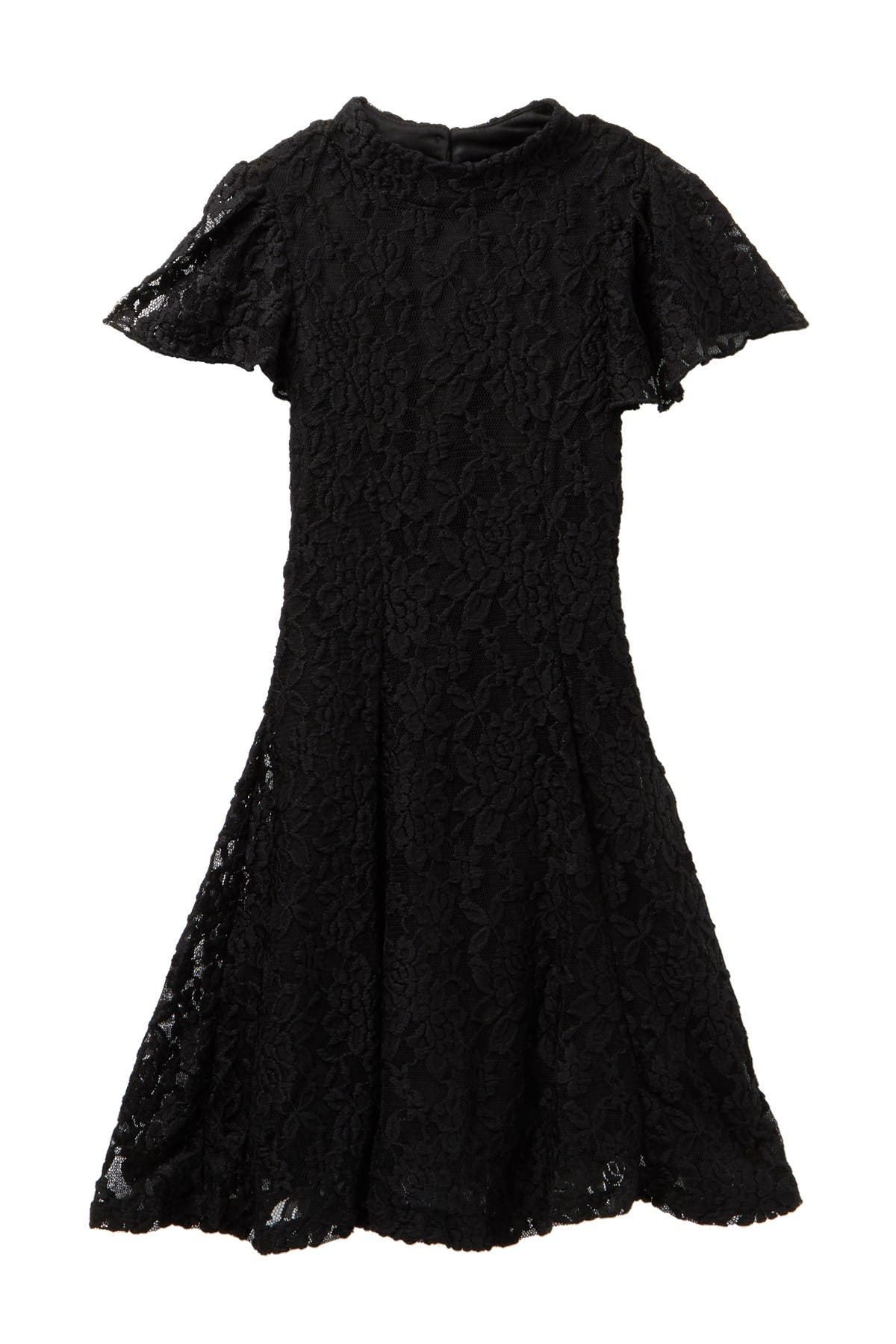 Image of Zunie Flutter Sleeve Lace Dress