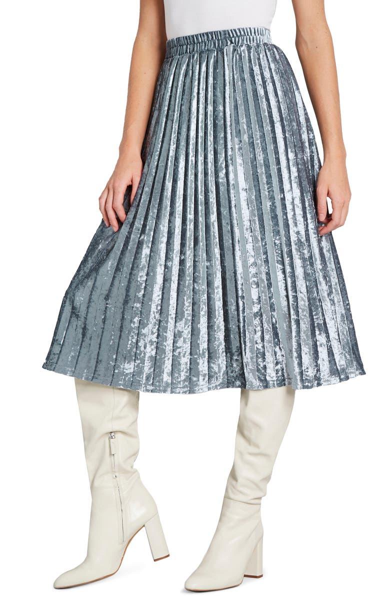 MODCLOTH Pleated Crushed Velvet Midi Skirt, Main, color, BLUE