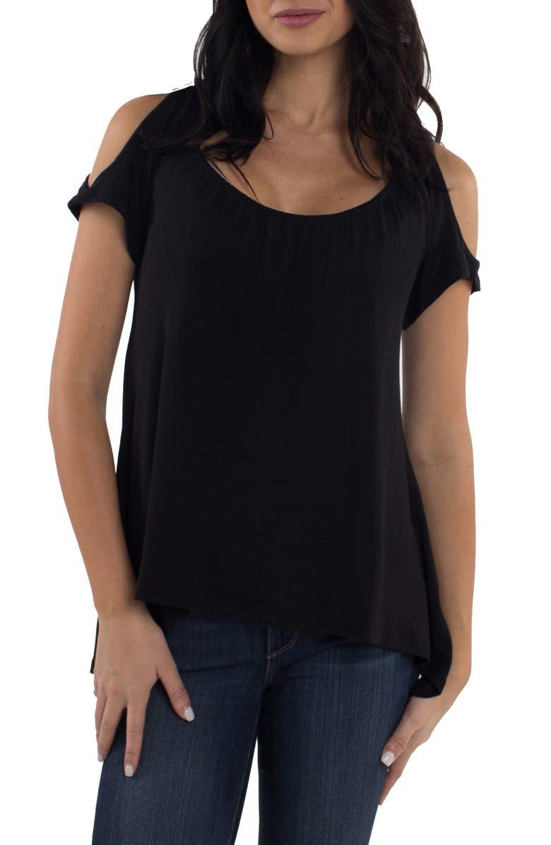 UDDERLY HOT MAMA Chloe Cold Shoulder Maternity/Nursing Top, Main, color, BLACK