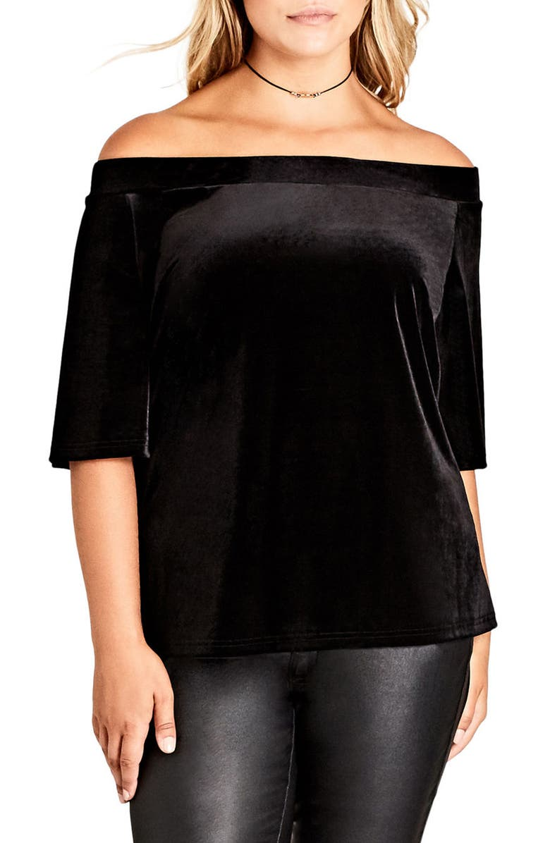 CITY CHIC Stretch Velvet Off the Shoulder Top, Main, color, 001