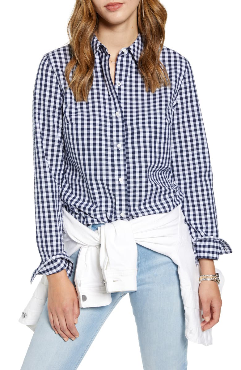 Gingham Boyfriend Cotton Blend Shirt by 1901