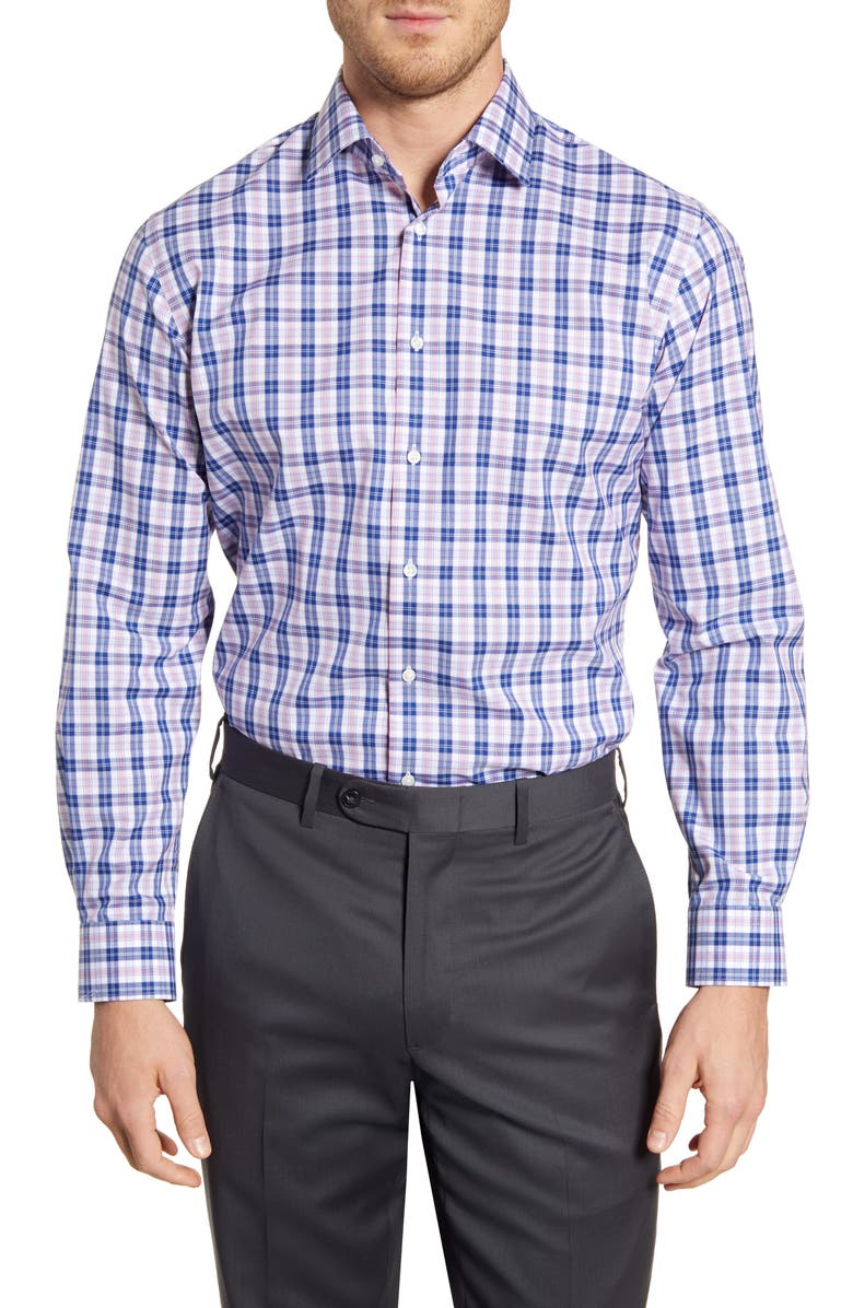 NORDSTROM MEN'S SHOP Traditional Fit Non-Iron Plaid Dress Shirt, Main, color, RED BARBERRY