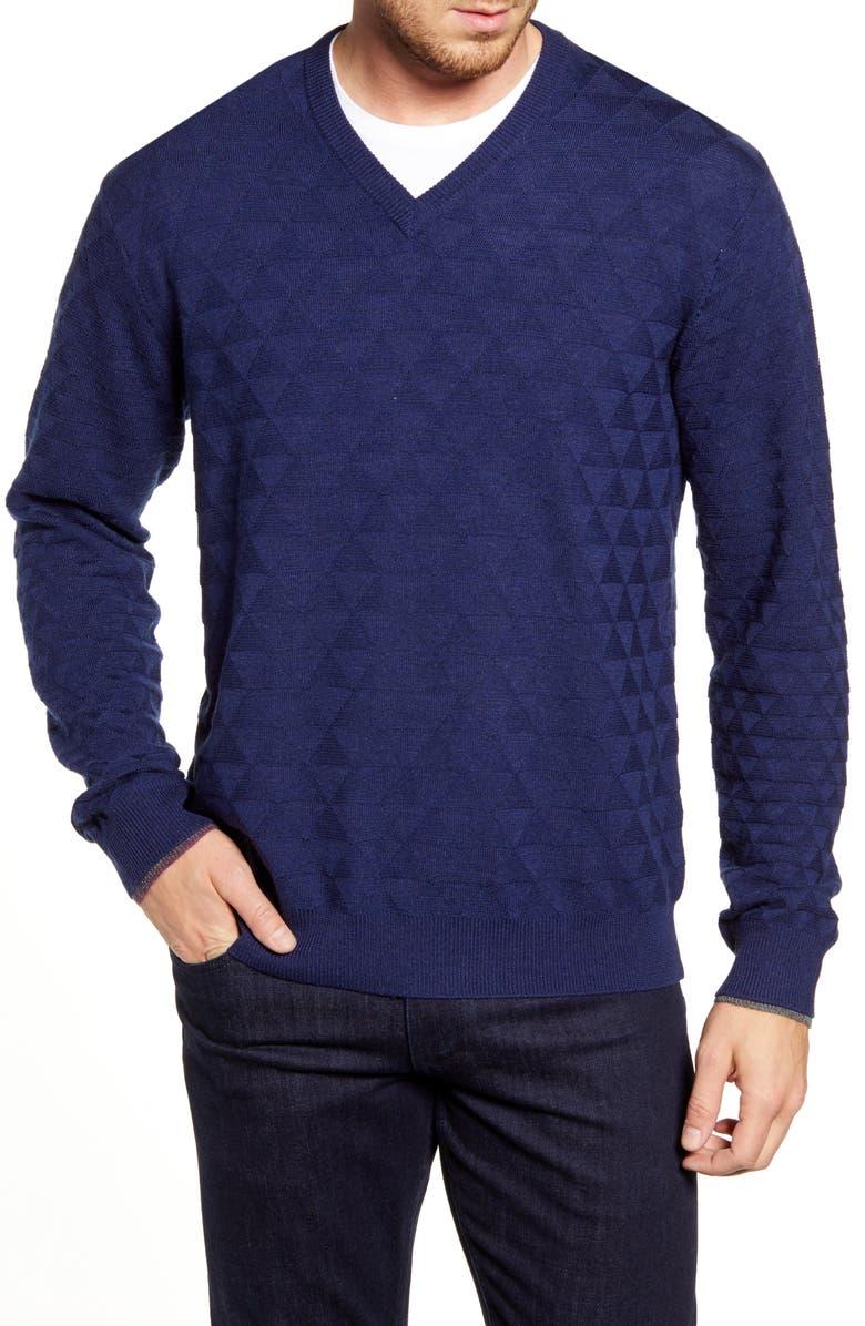 ROBERT GRAHAM Randie Regular Fit Jacquard V-Neck Sweater, Main, color, NAVY