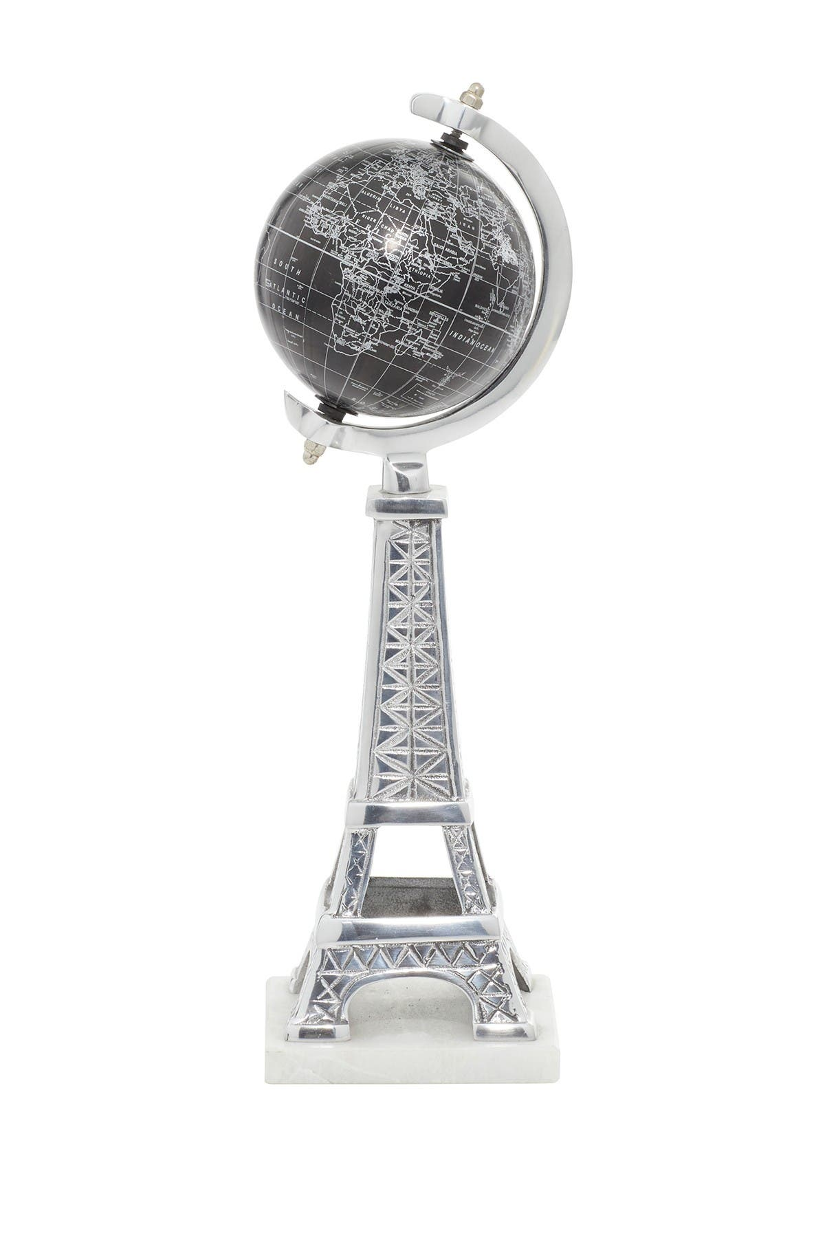 Image of Willow Row Glam Style Black PVC Globe On Aluminum Stand & Marble Base