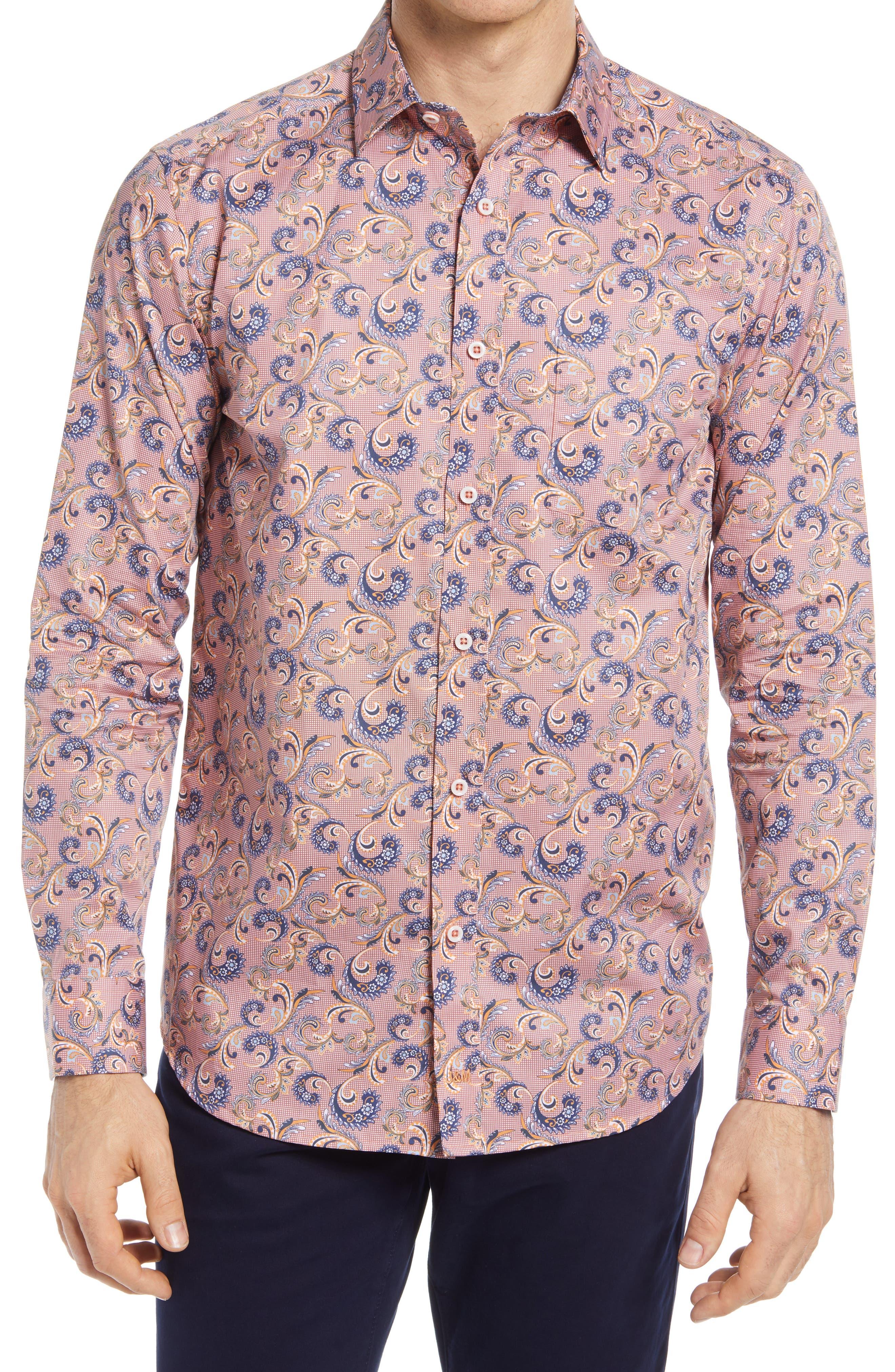 Checkered Paisley Print Button-Up Shirt