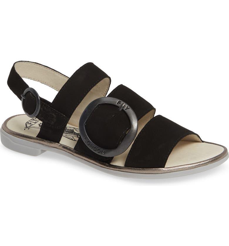FLY LONDON Codo Sandal, Main, color, BLACK/ BRONZE LEATHER